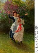 Morris Phillip Richard - Two Playing Girls - British School - 19th... Редакционное фото, фотограф Artepics / age Fotostock / Фотобанк Лори