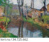 Martin Henri - Paysage Avec Pont - French School - 19th and Early... Стоковое фото, фотограф Artepics / age Fotostock / Фотобанк Лори