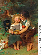 Munier Emile - Share and Share Alike (the Bowl of Milk) - French ... Стоковое фото, фотограф Artepics / age Fotostock / Фотобанк Лори