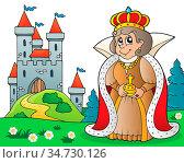 Happy queen near castle theme 3 - picture illustration. Стоковое фото, фотограф Zoonar.com/Klara Viskova / easy Fotostock / Фотобанк Лори