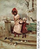 Pinchart Auguste Emile - Femme Et Sa Jeune Fille Dans Le Parc En ... Стоковое фото, фотограф Artepics / age Fotostock / Фотобанк Лори