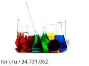 Laboratory glass with rainbow color liquids, chemistry still life. Стоковое фото, фотограф Zoonar.com/Oksana Shufrych / easy Fotostock / Фотобанк Лори