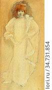 Robertson Walford Graham - Portrait of Sarah Bernhardt - British ... Редакционное фото, фотограф Artepics / age Fotostock / Фотобанк Лори