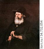Ribot Theodule Augustin - Portrait D'un Vieil Homme - French School... Стоковое фото, фотограф Artepics / age Fotostock / Фотобанк Лори