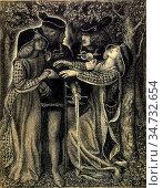 Rossetti Dante Gabriel - How They Met Themselves 1 - British School... Редакционное фото, фотограф Artepics / age Fotostock / Фотобанк Лори