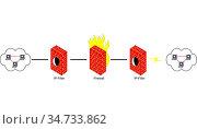 Digitale Strichzeichnung Foto Skizze Netzwerk LAN WLAN, Illustration... Стоковое фото, фотограф Zoonar.com/Volker Schlichting / easy Fotostock / Фотобанк Лори