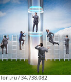 Businessmen in accelerated and fast promotion concept. Стоковое фото, фотограф Elnur / Фотобанк Лори