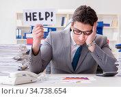 The businessman missing deadlines due to excessive work. Стоковое фото, фотограф Elnur / Фотобанк Лори