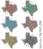 Karte von Texas mit Feuerwerk - Map of Texas with fireworks. Стоковое фото, фотограф Zoonar.com/lantapix / easy Fotostock / Фотобанк Лори
