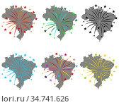 Karte von Brasilien mit Feuerwerk - Map of Brazil with fireworks. Стоковое фото, фотограф Zoonar.com/lantapix / easy Fotostock / Фотобанк Лори
