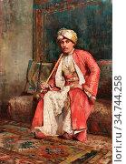 Weeks Edwin Lord - a Gentleman Smoking a Nargile in an Ottoman Interior... Редакционное фото, фотограф Artepics / age Fotostock / Фотобанк Лори