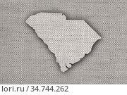 Karte von South Carolina auf altem Leinen - Map of South Carolina... Стоковое фото, фотограф Zoonar.com/lantapix / easy Fotostock / Фотобанк Лори
