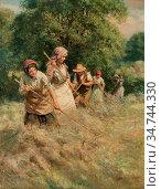 Wheelwright Rowland - Harvesting - British School - 19th Century. Редакционное фото, фотограф Artepics / age Fotostock / Фотобанк Лори