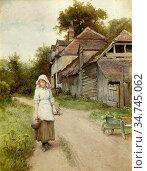 Wilson Charles Edward - Young Girl on a Rural Path - British School... Редакционное фото, фотограф Artepics / age Fotostock / Фотобанк Лори