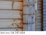 Fragment of a wooden house made of deciduous timber. Стоковое фото, фотограф Сергей Трофименко / Фотобанк Лори