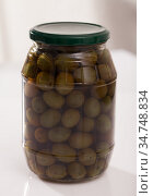 Green olives in glass jar. Стоковое фото, фотограф Яков Филимонов / Фотобанк Лори