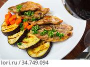 Roasted lamb meat with grilled eggplant. Стоковое фото, фотограф Яков Филимонов / Фотобанк Лори