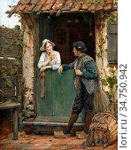 Portielje Edward - Het Verliefde Paar - Belgian School - 19th Century. Стоковое фото, фотограф Artepics / age Fotostock / Фотобанк Лори