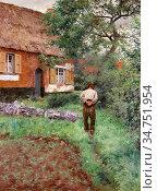 Bruyn Frans De - the Vegetable Garden - Belgian School - 19th Century. Стоковое фото, фотограф Artepics / age Fotostock / Фотобанк Лори