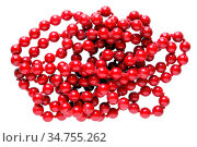 Homemade female beads are made of red round smooth glass stones. Isolated... Стоковое фото, фотограф Zoonar.com/Aleksandr Volkov / easy Fotostock / Фотобанк Лори