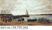 Meszoly Geza - Crossing at SzántóD - Hungarian School - 19th Century. Стоковое фото, фотограф Artepics / age Fotostock / Фотобанк Лори
