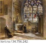 Lhermitte Leon Augustin - La Prière Eglise Saint-Bonnet - French ... Редакционное фото, фотограф Artepics / age Fotostock / Фотобанк Лори