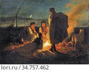 Lotz Károly - Campfire - Hungarian School - 19th Century. Стоковое фото, фотограф Artepics / age Fotostock / Фотобанк Лори