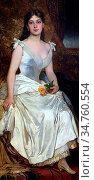 Lotz Károly - Ilona Lotz in White - Hungarian School - 19th Century. Редакционное фото, фотограф Artepics / age Fotostock / Фотобанк Лори
