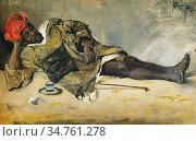 Tornai Gyula - Homme Allongé Tanger - Hungarian School - 19th Century. Редакционное фото, фотограф Artepics / age Fotostock / Фотобанк Лори
