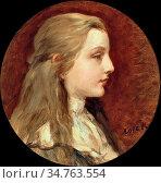 Lotz Károly - Blond Girl in White Blouse (Portrait of Ilonka Sándor... Редакционное фото, фотограф Artepics / age Fotostock / Фотобанк Лори