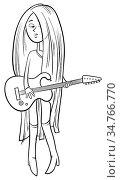 Black and White Cartoon Illustration of Teen Girl with Electric Guitar... Стоковое фото, фотограф Zoonar.com/Igor Zakowski / easy Fotostock / Фотобанк Лори