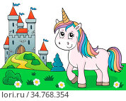 Cute unicorn topic image 3 - picture illustration. Стоковое фото, фотограф Zoonar.com/Klara Viskova / easy Fotostock / Фотобанк Лори