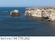 Скала Черепаха у побережья мыса Тарханкут, Крым. Стоковое фото, фотограф Николай Мухорин / Фотобанк Лори