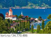 Spiez Church and Castle, Switzerland (2019 год). Стоковое фото, фотограф Коваленкова Ольга / Фотобанк Лори