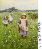 Affleck William - Gathering Wildflowers - British School - 19th Century... Стоковое фото, фотограф Artepics / age Fotostock / Фотобанк Лори