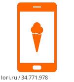 Eis und Smartphone - Ice cream and smartphone. Стоковое фото, фотограф Zoonar.com/Robert Biedermann / easy Fotostock / Фотобанк Лори