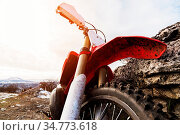 Details of the enduro motorcycle. Wide angle. Wing with the wheel... Стоковое фото, фотограф Zoonar.com/Ian Iankovskii / easy Fotostock / Фотобанк Лори