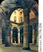 Cromek Thomas Hartley - the Cortile of the Church of Palazzo Vecchio... Стоковое фото, фотограф Artepics / age Fotostock / Фотобанк Лори