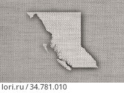 Karte von British Columbia auf altem Leinen - Map of British Columbia... Стоковое фото, фотограф Zoonar.com/lantapix / easy Fotostock / Фотобанк Лори