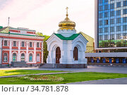 """Saratov, Russia - 07/06/2020: Chapel in the name of the icon """"Life-giving source"""" on Teatralnaya square in the center of city space, a landmark of the region. Редакционное фото, фотограф Светлана Евграфова / Фотобанк Лори"""