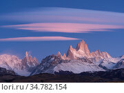 Fitz Roy Massif at sunrise. Los Glaciares National Park, Argentina. April 2016. Стоковое фото, фотограф Jeff Vanuga / Nature Picture Library / Фотобанк Лори