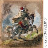 Delacroix Eugène - Cavalier Arabe Galopant - French School - 19th... Стоковое фото, фотограф Artepics / age Fotostock / Фотобанк Лори