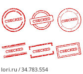Checked Stempel - Checked stamps. Стоковое фото, фотограф Zoonar.com/Robert Biedermann / easy Fotostock / Фотобанк Лори