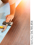 Man Installing New Laminate Wood Flooring Abstract. Стоковое фото, фотограф Zoonar.com/Andy Dean Photography / easy Fotostock / Фотобанк Лори