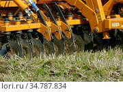 Tractor with a Simba power disc harrow cultivating set-a-side field before planting with maize in Devon, April. Стоковое фото, фотограф Nigel Cattlin / Nature Picture Library / Фотобанк Лори