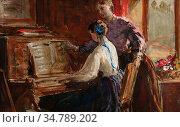 Phillip John - the Music Room - British School - 19th Century. Редакционное фото, фотограф Artepics / age Fotostock / Фотобанк Лори