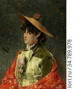 Stevens Alfred - Femme Au Chapeau De Paille - Belgian School - 19th... Редакционное фото, фотограф Artepics / age Fotostock / Фотобанк Лори