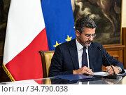 Chigi Palace. Riccardo Fraccaro, Undersecretary to the Prime Minister... Редакционное фото, фотограф Fotia / AGF/Francesco Fotia / age Fotostock / Фотобанк Лори