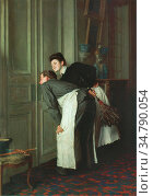 Cogghe Remy - Madame Reçoit - Belgian School - 19th Century. Редакционное фото, фотограф Artepics / age Fotostock / Фотобанк Лори