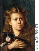 Herbo Leon - Meisje Met Haar Kat - Belgian School - 19th Century. Редакционное фото, фотограф Artepics / age Fotostock / Фотобанк Лори